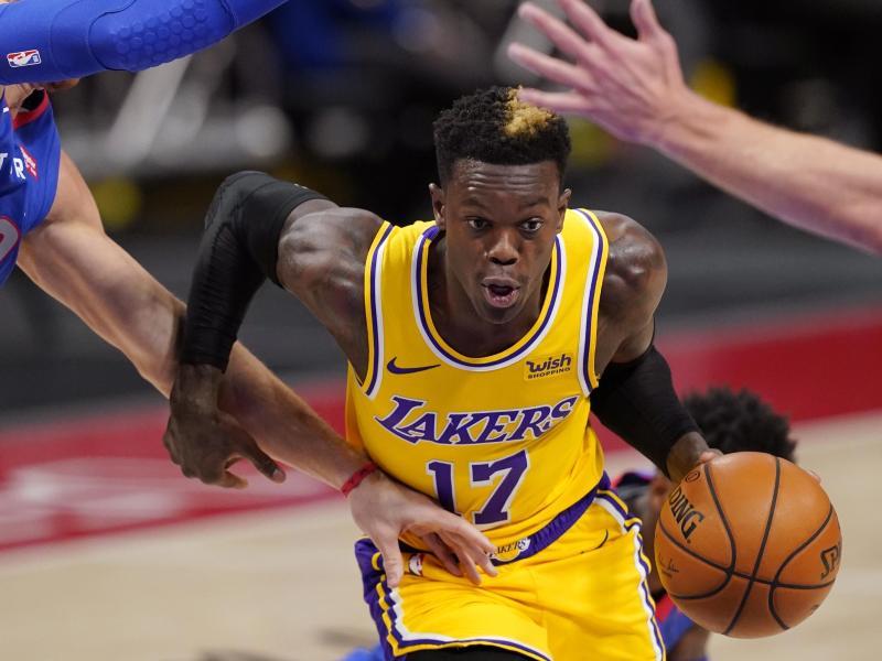Dennis Schröder von den Los Angeles Lakers in Aktion