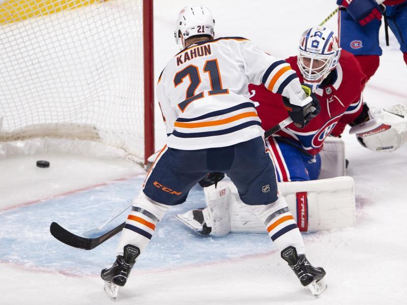 Machte den Oilers-Sieg gegen die Montréal Canadiens perfekt: Dominik Kahun (l.)