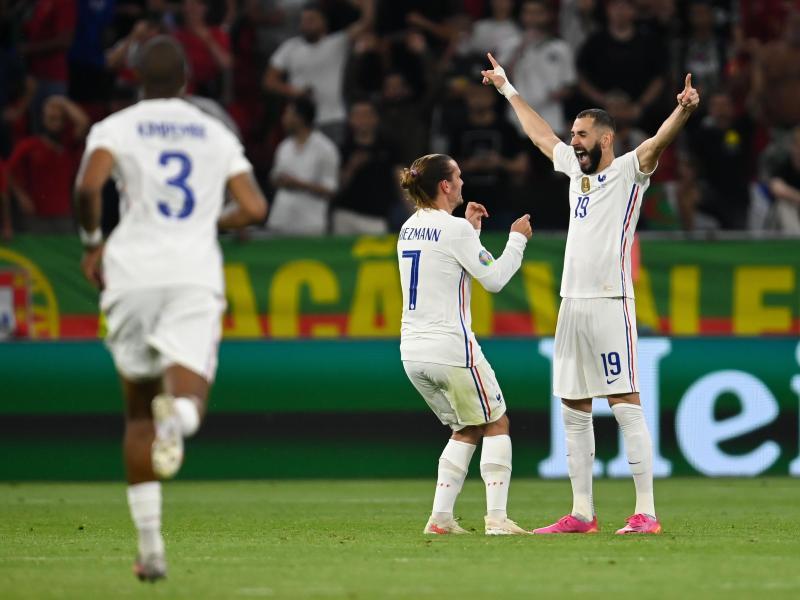 Karim Benzema (r.) traf gegen Portugal gleich doppelt