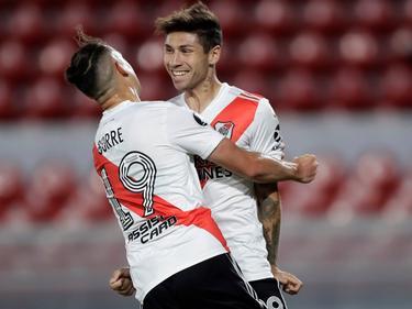 Gonzalo Montiel celebra su gol de pena máxima.