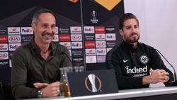 Baut auf Kevin Trapp als die Nummer eins im Eintracht-Tor:Trainer Adi Hütter (l.)