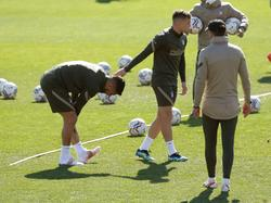 El uruguayo sintió molestias durante el entrenamiento.