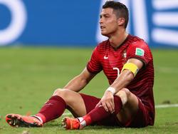 Cristiano Ronaldo am Boden