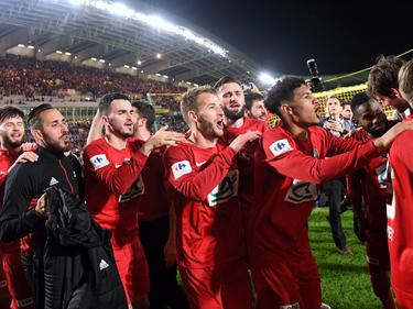 Riesenjubel bei Les Herbiers VF nach dem Finaleinzug im Pokal