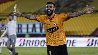 Gonzalo Mastriani vom Barcelona SC Guayaquil feiert den Führungstreffer seiner Mannschaft