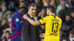 BVB-Profi Guerreiro (r.) entschuldigte sich bei Barcelonas Dembélé nach dessen Foul