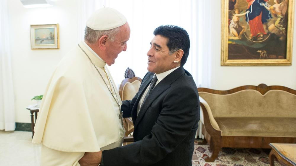Maradona besuchte Papst Franziskus 2014 im Vatikan