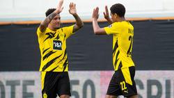 Jadon Sancho (l.) hat sein Fußballerherz an BVB-Kollege Jude Bellingham verloren