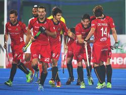 Belgiens Hockey-Nationalmannschaft feiert ein Tor