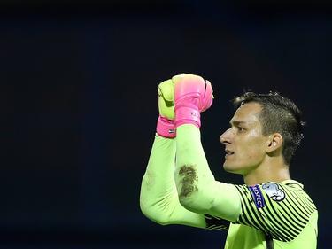 Doelman Lovre Kalinić tijdens de WK-kwalificatiewedstrijd van Kroatië tegen Turkije. (05-09-2016)