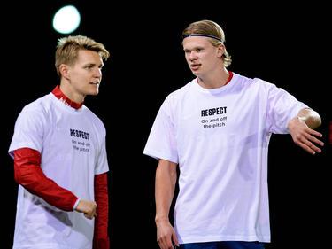 Ødegaard und Håland beim small-talk