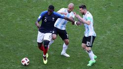 Trafen sich diesmal nicht auf dem Platz: Paul Pogba (l.) und Lionel Messi (r.)