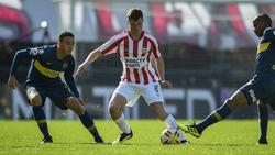 Matías Pellegrini en un partido contra Boca Juniors.