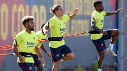 Imagen del entrenamiento del Barça esta mañana.