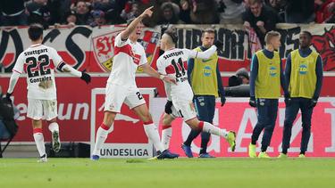 Mario Gomez bejubelt seinen zweiten Treffer für den VfB Stuttgart gegen Hertha BSC
