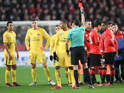 Mbappé fue expulsado contra el Rennes. (Foto: Imago)