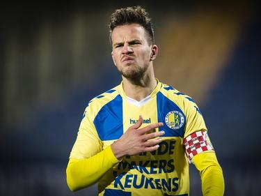 Frank van Mosselveld baalt na afloop van het competitieduel RKC Waalwijk - De Graafschap. (09-02-2015)