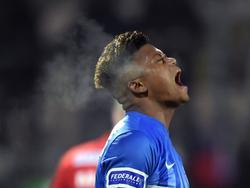 Leon Bailey schreeuwt het uit tijdens het bekerduel KV Oostende - KRC Genk (17-01-2017).