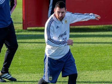 Messi en un entrenamiento con la Albiceleste.