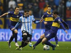 Rodrigo de Paul (l.) im Spiel gegen Boca Juniors