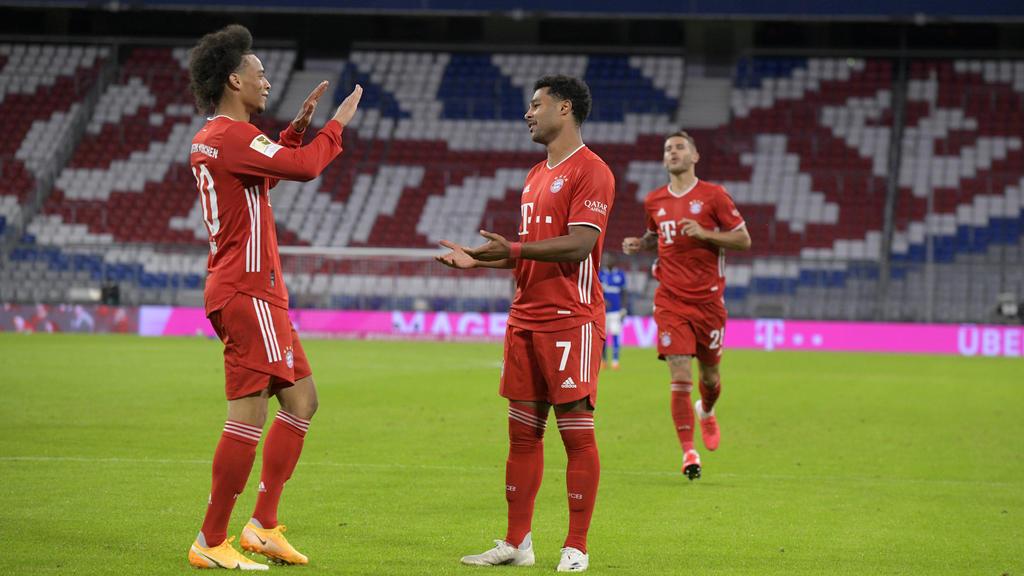 Leroy Sané und Sergy Gnabry sammelten jeweils drei Scorerpunkte bei der Bayern-Gala gegen Schalke 04