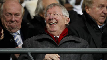 Sir Alex Ferguson laughs in the stands during the Carabao Cup match at the Etihad Stadium, Manchester.