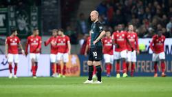 Werder Bremens Davy Klaassen kann es nicht fassen: Mainz nimmt die drei Punkte mit