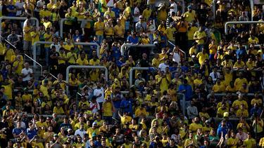 Afición brasileño animando frente a Perú.