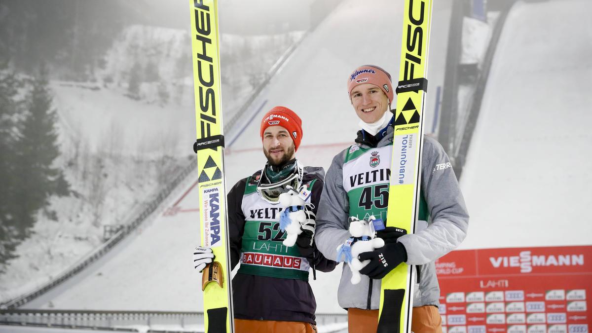 Wollen WM-Gold in Oberstdorf: Karl Geiger (r) und Markus Eisenbichler