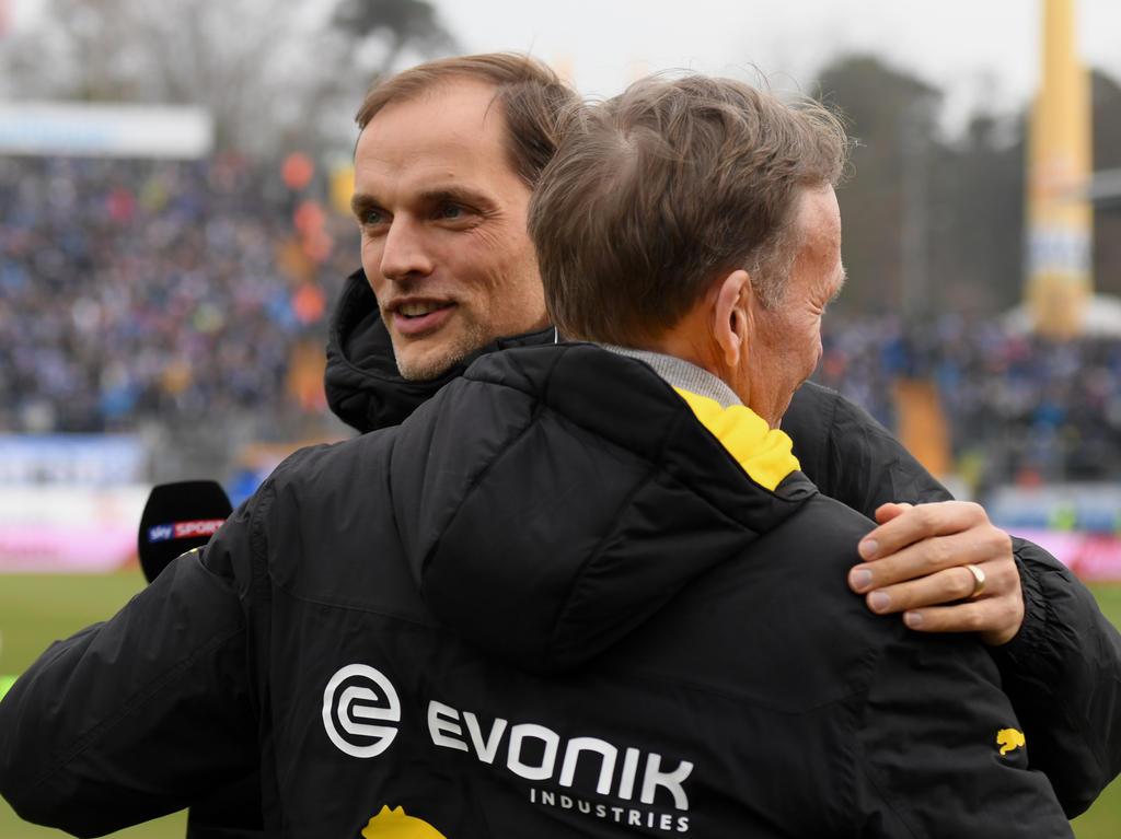BVB-Coach Thomas Tuchel und Geschäftsführer Hans-Joachim Watzke (v.)