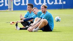 Das derzeitige Schalker Torwart-Trio um Michael Langer, Markus Schubert und Ralf Rährmann (v.l.)