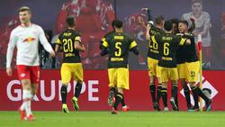 Der BVB bejubelt den knappen Auswärtssieg bei RB Leipzig