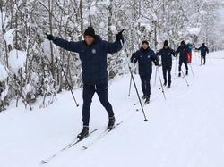 Vor allem Austria Wiens Südamerikaner haben im Schnee ihren Spaß. © FK Austria Wien/Köhler