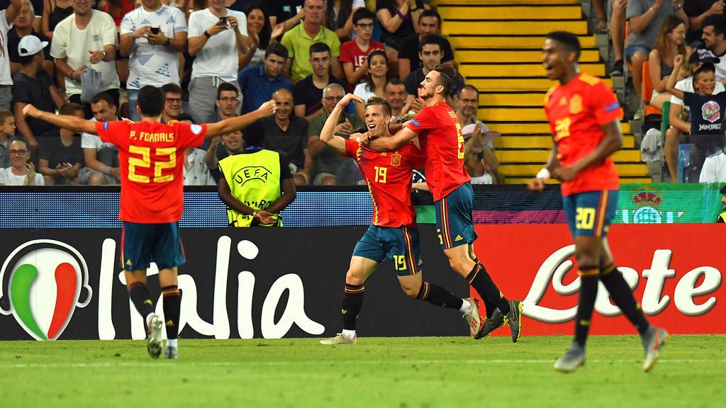 Dani Olmo celebra un gol en la Eurocopa Sub-21.