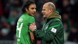Arbeiteten bei Werder Bremen zusammen: Thomas Schaaf (r.) und Claudio Pizarro