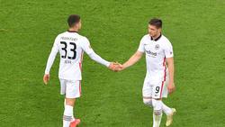 In dieser Saison noch gemeinsam für Eintracht Frankfurt auf dem Rasen: André Silva und Luka Jovic