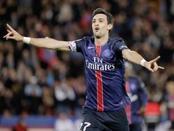 Javier Pastore viert zijn treffer tijdens het competitieduel Paris Saint-Germain - Guingamp (22-09-2015).
