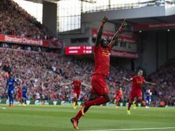 Sadio Mané kan juichen tijdens het competitieduel Liverpool - Leicester City (10-09-2016).