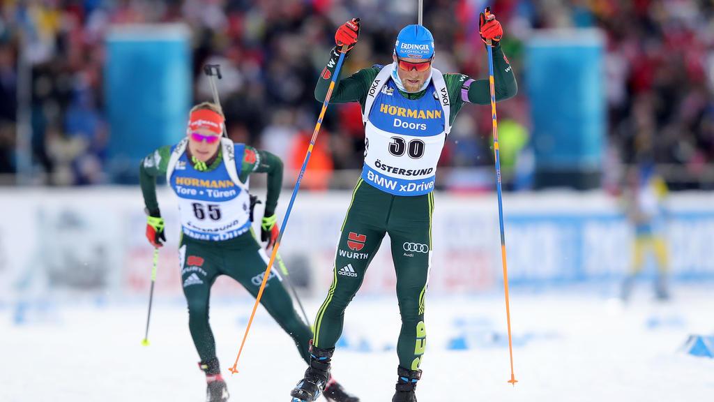 Erik Lesser und Denise Herrmann haben in der Staffel Platz vier belegt