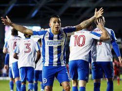 Anthony Knockaert is in extase tijdens het competitieduel Brighton & Hove Albion - Birmingham City (04-04-2017).