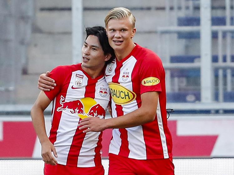 Salzburgs Offensivspieler Takumi Minamino und Erling Håland sind heiß begehrt