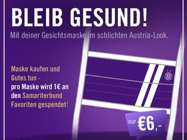 Die Austria bietet Schutzmasken in Violett an