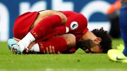 Salah cayó lesionado ante el Leicester City.