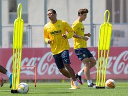 El cafetero Bacca en el entrenamiento del Villarreal de ayer.