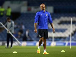 Wes Brown laat zich zien op het veld voorafgaand aan het League Cup-duel Leeds United - Blackburn Rovers (20-09-2016).