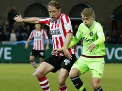 Viktor Fischer (r.) en Michel Breuer zijn in een duel verwikkeld tijdens de kampioenswedstrijd van Sparta Rotterdam tegen Jong Ajax. (11-04-2016)