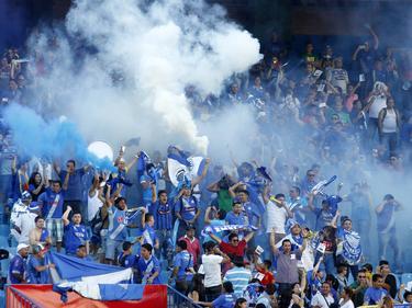 Hinchas del Emelec celebran la victoria de su equipo. (Foto: Imago)
