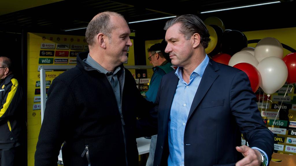 BVB-Boss Michael Zorc (r.) und Jörg Schmadtke vom VfL Wolfsburg