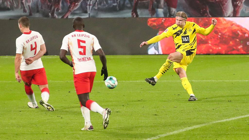 Erling Haaland (r.) knipste zuletzt zweimal gegen Leipzig