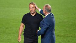 Hansi Flick (l.) vom FC Bayern wird als Bundestrainer gehandelt